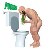 Sick Man Puke In Toilet Bowl Illustration Royalty Free Stock Photography