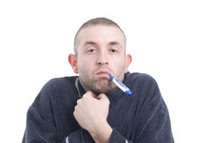 Sick man with thermometer 3 Royalty Free Stock Image