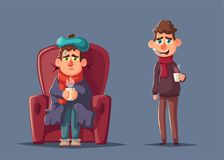 Sick man. Unhappy character. Vector cartoon illustration stock illustration