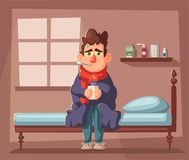 Sick man. Unhappy character. Vector cartoon illustration. Man with cup of tea in hand. Season allergy. Person in scarf with thermometer in his mouth. Winter Royalty Free Stock Images