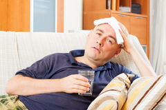 Sick   man uses handkerchief Royalty Free Stock Photography