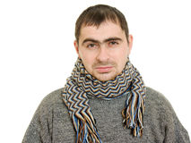 Sick man wearing a scarf Royalty Free Stock Photography