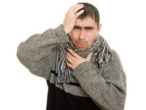 Sick man wearing a scarf Royalty Free Stock Photos