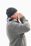 Sick mature man blowing his nose Royalty Free Stock Photo