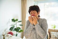 Sick mature woman catch cold. Stock Photo