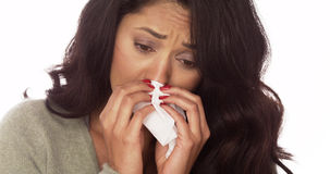Sick Mexican woman. With tissue Stock Photos