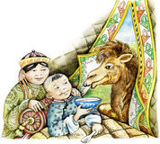 Sick mongolian boy and a camel stock illustration