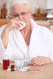 A sick old lady. Having her breakfast Royalty Free Stock Image