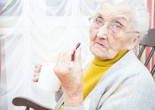 Sick old lady Royalty Free Stock Images