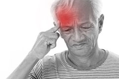 Sick old man suffering from headache, migraine Stock Images