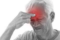 Sick old man suffering from headache, migraine Stock Photo
