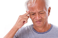 Sick old man suffering from headache, migraine Royalty Free Stock Photography