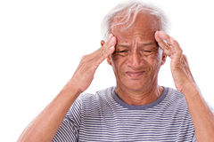 Sick old man suffering from headache, migraine Royalty Free Stock Image