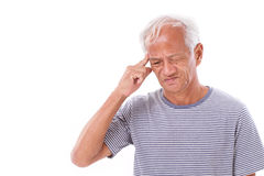 Sick old man suffering from headache, migraine Royalty Free Stock Photos