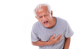 Sick old man suffering from heart attack or breathing difficulti Royalty Free Stock Photo