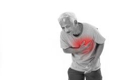Sick old man suffering from heart attack Royalty Free Stock Photos