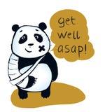 Sick panda bear. If you are sick, may panda bear encourage you  Get well asap! Panda wish you were healthy and  joyful. Enjoy your life Stock Photography