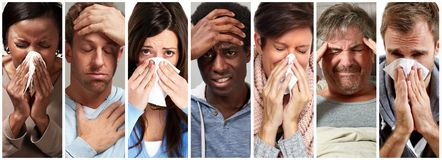 Sick people having flu, cold and sneeze royalty free stock photo