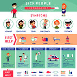 Sick People Infographic Template Stock Photo