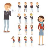 Sick People Set. Sick people characters set with men and women coughing blowing sneezing isolated vector illustration royalty free illustration