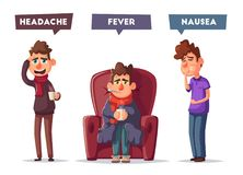 Sick people. Unhappy character. Vector cartoon illustration vector illustration
