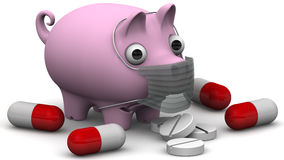 Sick pig with medicine Royalty Free Stock Photography