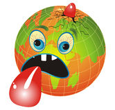 Sick Planet. Cartoon illustration with globe depicting global warming Royalty Free Stock Photography