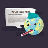 Sick Planet Earth Wearing An Ice Pack WithThermometer. Save World Concept - Vector Stock Images