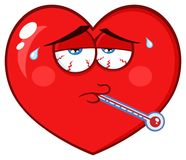 Sick Red Heart Cartoon Emoji Face Character With Tired Expression And Thermometer Royalty Free Stock Photography
