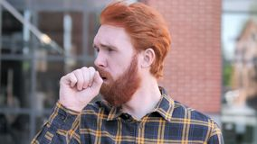 Sick Redhead Beard Young Man Coughing Outdoor. 4k high quality, 4k high quality stock video footage