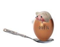 Sick retirement 401K egg Royalty Free Stock Photos