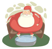 Sick Santa. Santa Claus with a high temperature is sitting in a chair and floating legs Royalty Free Stock Photos