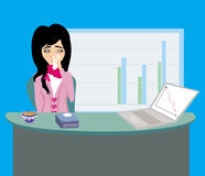 Sick secretary working Royalty Free Stock Photography
