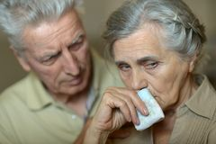 Sick senior couple with handkerchief. Portrait of sick senior couple with handkerchief Royalty Free Stock Image