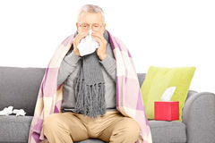 Sick senior man sitting on a sofa and blowing his nose Royalty Free Stock Photo