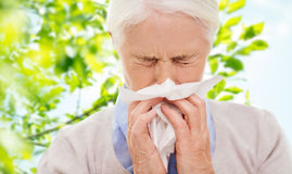 Sick senior woman blowing nose to paper napkin. Healthcare, age and people concept - sick senior woman blowing nose to paper napkin over green natural background stock images