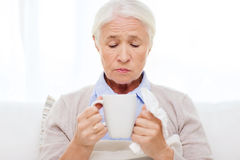 Sick senior woman drinking hot tea at home Stock Photography