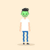 Sick shivering young man with green face  cartoon. Illustration / flat  concept Stock Photography