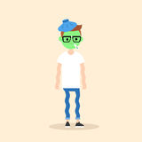 Sick shivering young nerd with green face  cartoon. Illustration / flat  concept Stock Photo