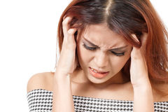 Sick, stressed woman with headache, migraine, stress, insomnia, hangover i Royalty Free Stock Photography