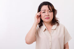 Sick, stressed woman suffering from headache Royalty Free Stock Image