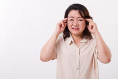 Sick, stressed woman suffering from headache Stock Photo