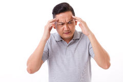 Sick, stressful man suffering from headache. Migraine Stock Images