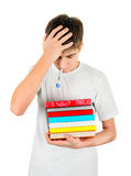 Sick Student with the Books Stock Images