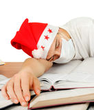 Sick Student in Santa Hat Stock Photos