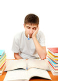 Sick Student with Thermometer Royalty Free Stock Images