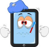 Sick tablet cartoon Royalty Free Stock Images