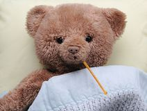 Sick teddy bear Royalty Free Stock Photography