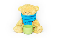 Sick teddy bear. Teddy bear in a blue scarf with a big green mug of tea. The bear looks sick and sad. on white royalty free stock image