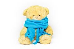 Sick teddy bear. Teddy bear in a blue scarf. on white Royalty Free Stock Photos
